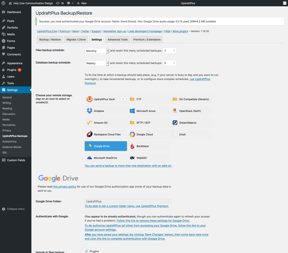 Wordpress backup software dashboard